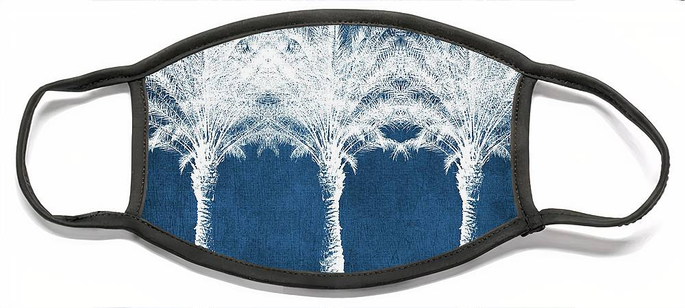 Palm Tree Face Mask featuring the mixed media Indigo And White Palm Trees- Art by Linda Woods by Linda Woods