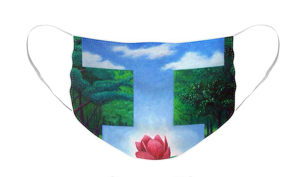 Spiritual Face Mask featuring the painting Inner Bliss by Brian Commerford