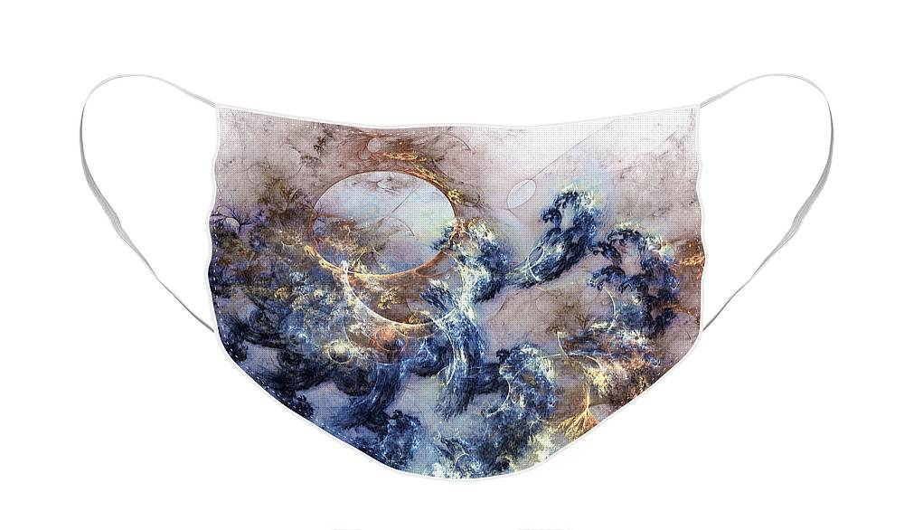 Abstract Face Mask featuring the digital art Ion Storm by Casey Kotas