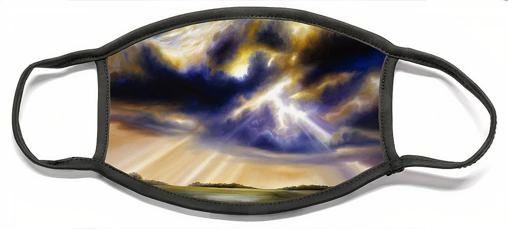 Sunrise; Sunset; Power; Glory; Cloudscape; Skyscape; Purple; Red; Blue; Stunning; Landscape; James C. Hill; James Christopher Hill; Jameshillgallery.com; Ocean; Lakes; Storms; Lightning; Rain; Rays; God Face Mask featuring the painting Iowa Storms by James Christopher Hill
