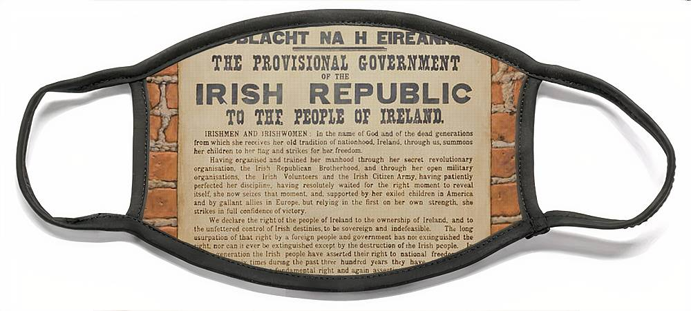 Ireland Face Mask featuring the painting Irish Republic 1916 Proclamation of Independence by Brian McCarthy