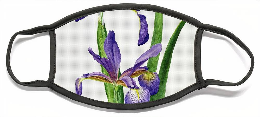 Flower Face Mask featuring the painting Iris monspur by Anonymous