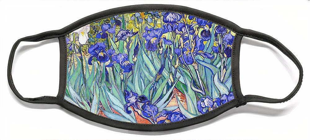 Van Gogh Face Mask featuring the painting Irises by Van Gogh