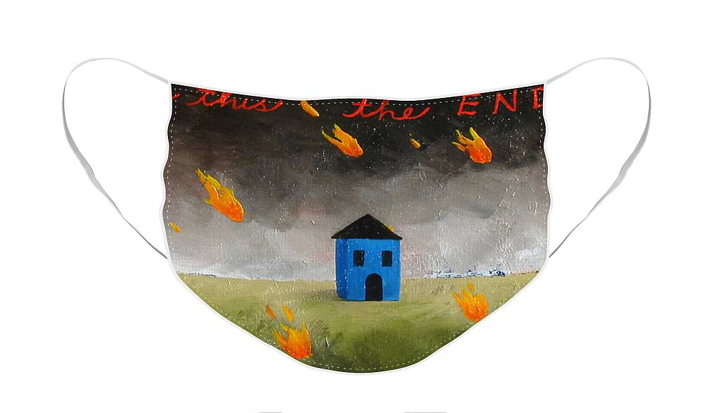House Face Mask featuring the painting Is This The End by Pauline Lim