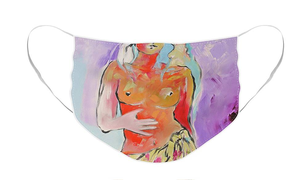 Painting Face Mask featuring the painting Island Girl by Linda Monfort