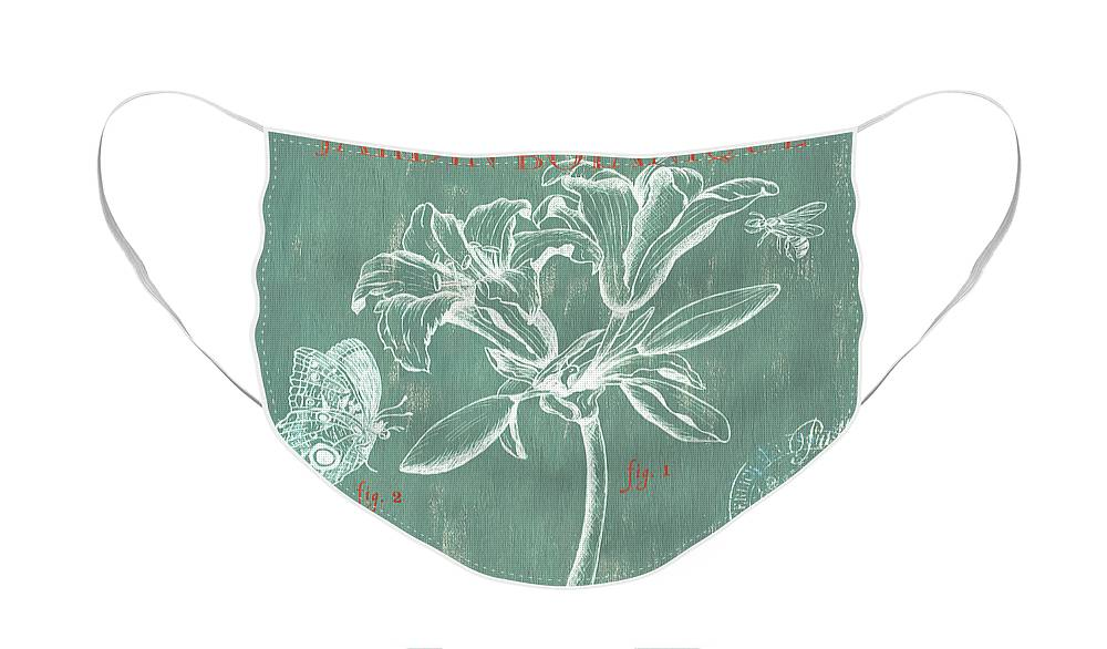 Floral Face Mask featuring the drawing Jardin Botanique Aqua by Debbie DeWitt