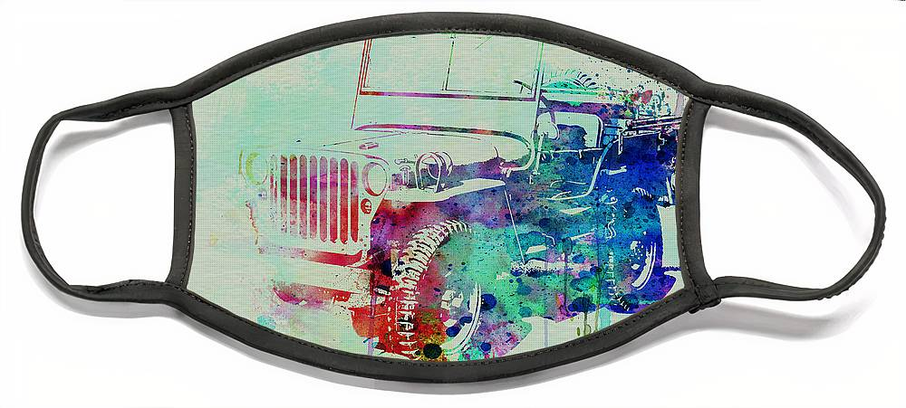 Willis Face Mask featuring the painting Jeep Willis by Naxart Studio