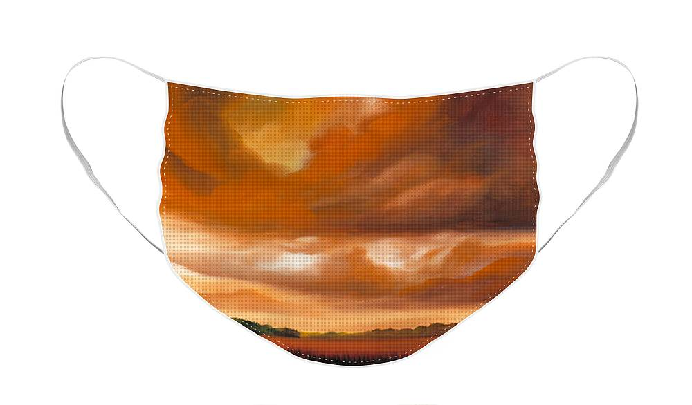 Clouds Face Mask featuring the painting Jetties On The Shore by James Christopher Hill