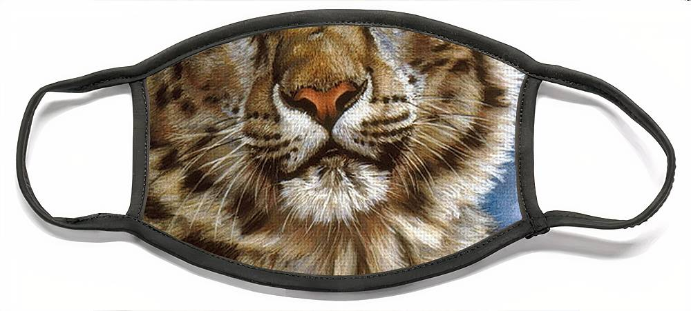 Snow Leopard Face Mask featuring the pastel Jewel by Barbara Keith