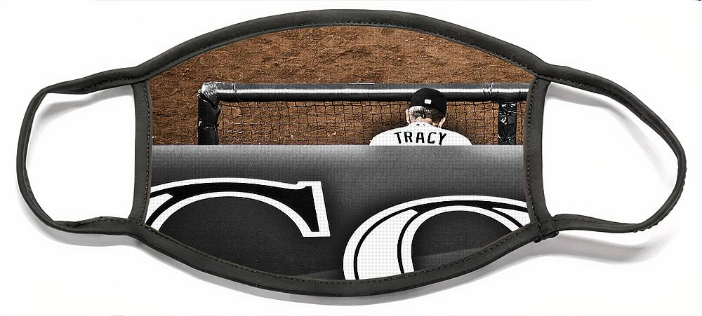 Americana Face Mask featuring the photograph Jim Tracy Rockies Manager by Marilyn Hunt