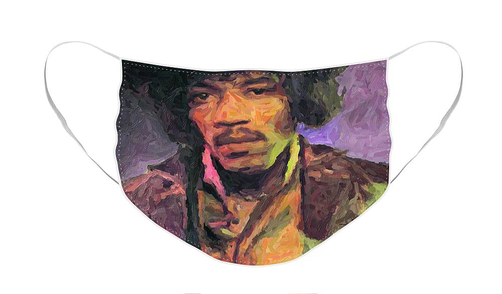 Jimi Hendrix Face Mask featuring the painting Jimi Hendrix by Zapista OU
