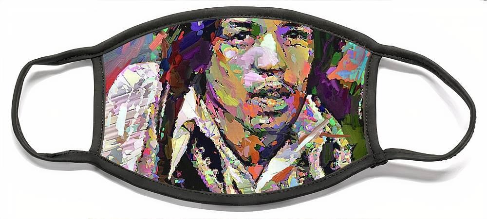 Jimi Hendrix Music Portrait Musician Rock Face Mask featuring the digital art Jimi by Scott Waters