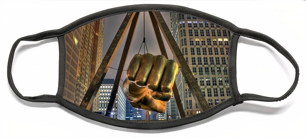 Dj Just Nick Face Mask featuring the digital art Joe Louis Fist Detroit MI by Nicholas Grunas