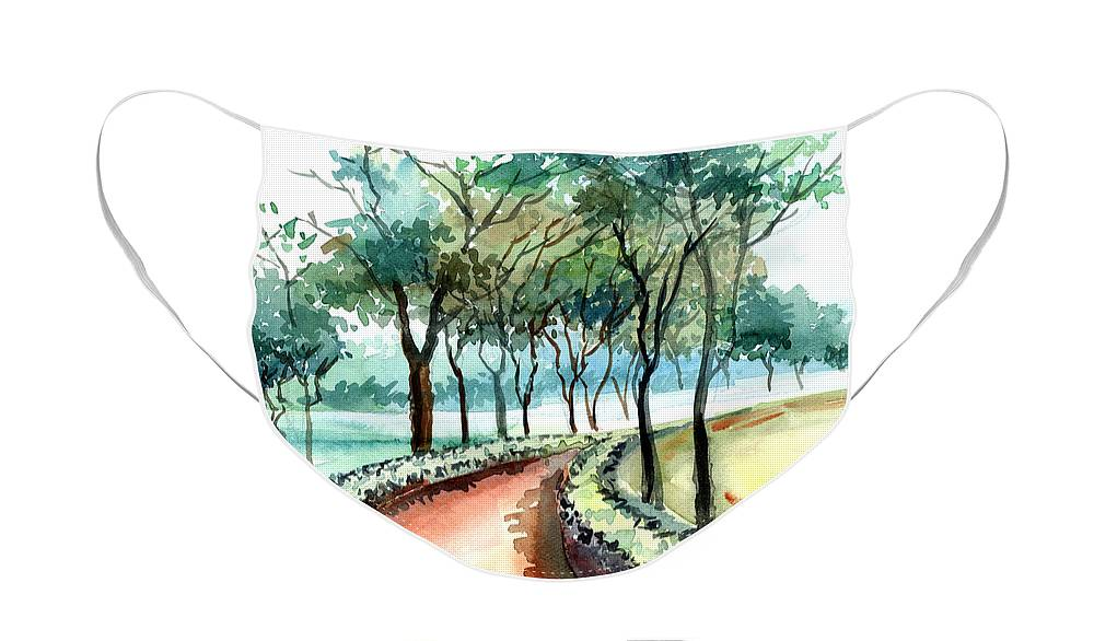 Landscape Face Mask featuring the painting Jogging track by Anil Nene