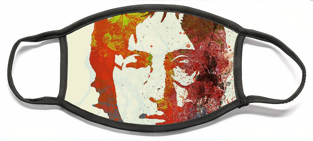 Face Mask featuring the painting John Lennon by Naxart Studio