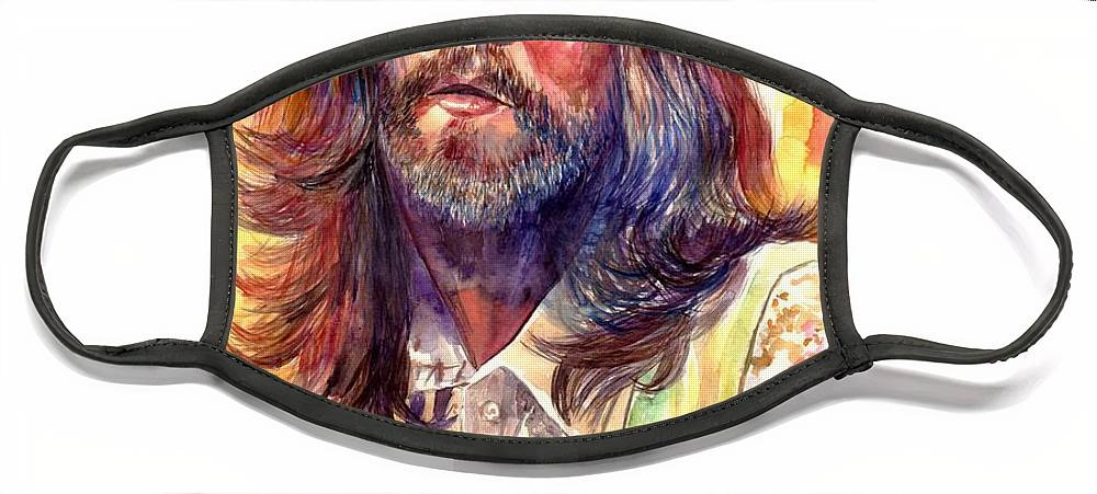 John Lennon Face Mask featuring the painting John Lennon watercolor by Suzann Sines