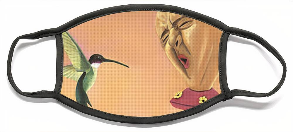 Faces In Unusual Places Face Mask featuring the painting Joshua by Sandi Snead