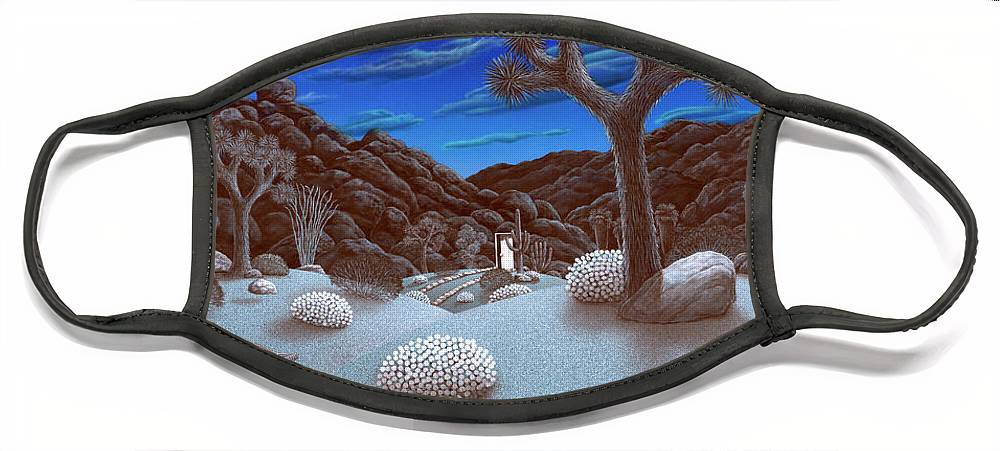 Landscape Face Mask featuring the painting Joshua Tree at night by Snake Jagger