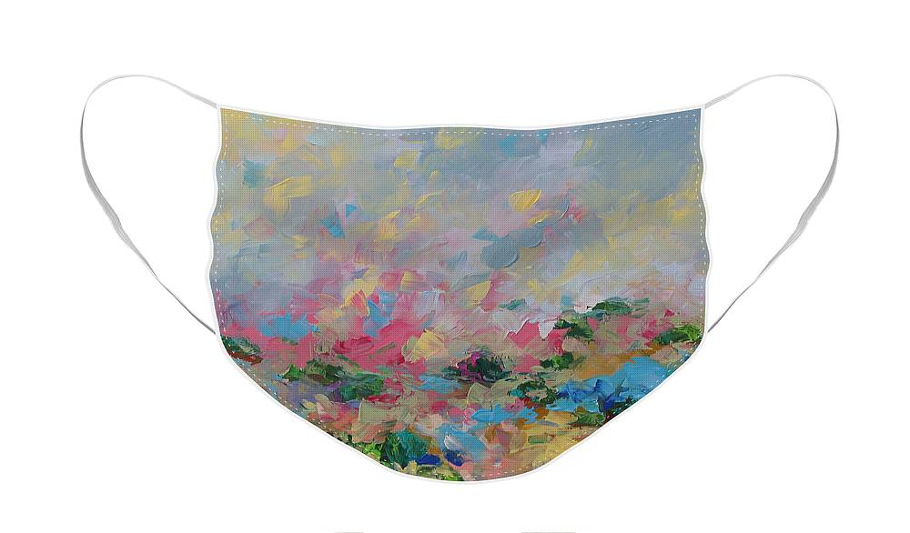 Art Face Mask featuring the painting Joyful Day by Linda Monfort