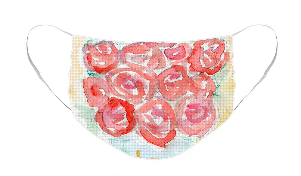 Roses Face Mask featuring the painting Joyful Roses- Art by Linda Woods by Linda Woods