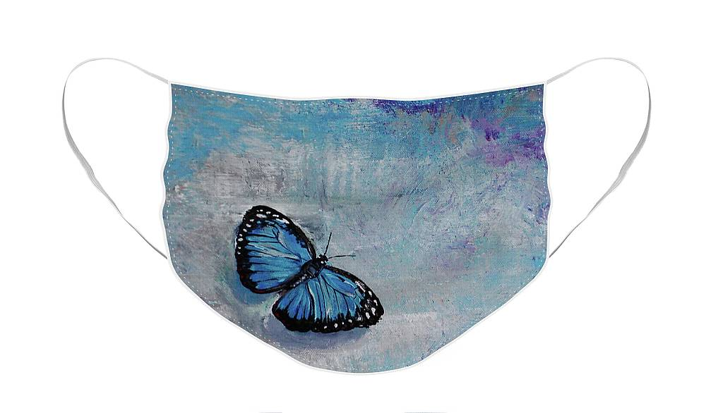 Butterfly Face Mask featuring the painting Joyful Visitor - blue butterfly by Noelle Rollins