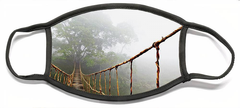 Rope Bridge Face Mask featuring the photograph Jungle Journey by Skip Nall