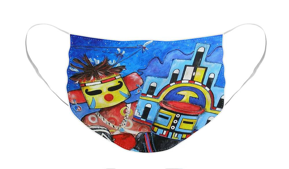 Native Face Mask featuring the painting Kachina Knights by Elaine Booth-Kallweit