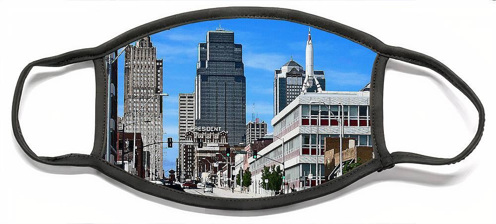 City Scape Face Mask featuring the photograph Kansas City Cross Roads by Steve Karol
