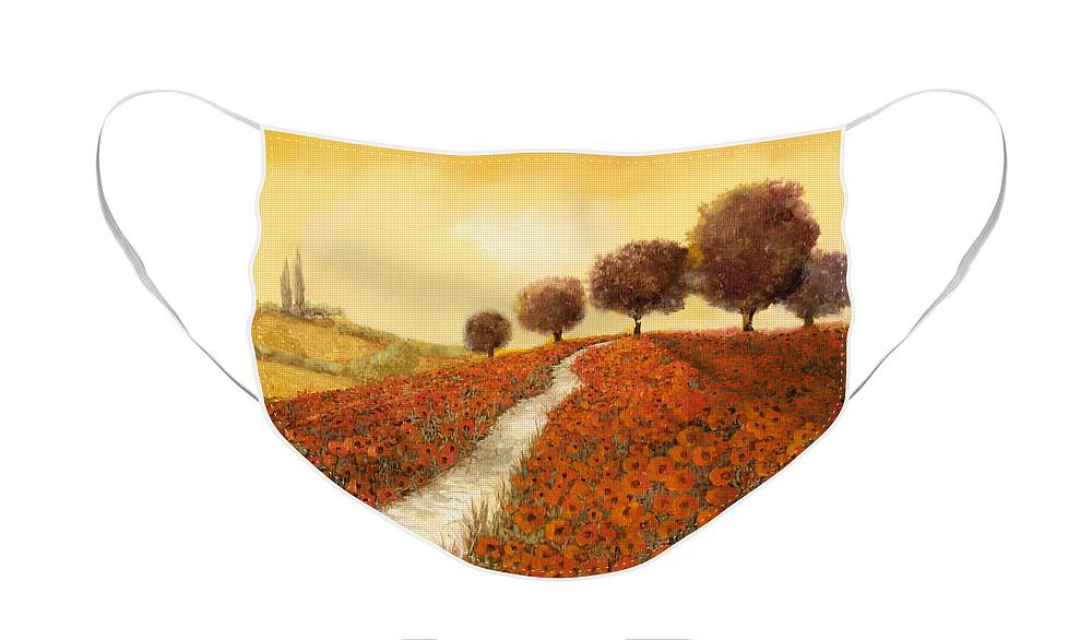 Tuscany Face Mask featuring the painting I Papaveri Sulla Collina by Guido Borelli