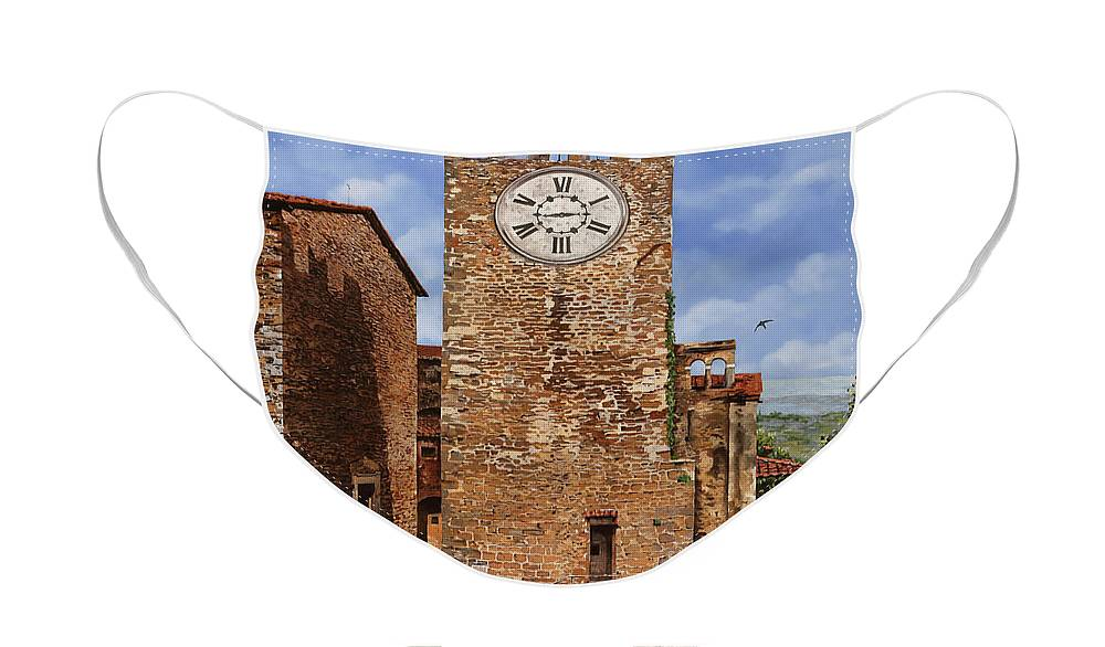 Tuscany Face Mask featuring the painting La Torre Del Carmine-Montecatini Terme-Tuscany by Guido Borelli