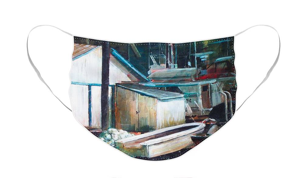 Harbour Face Mask featuring the painting Ladner Harbour by Victoria Heryet