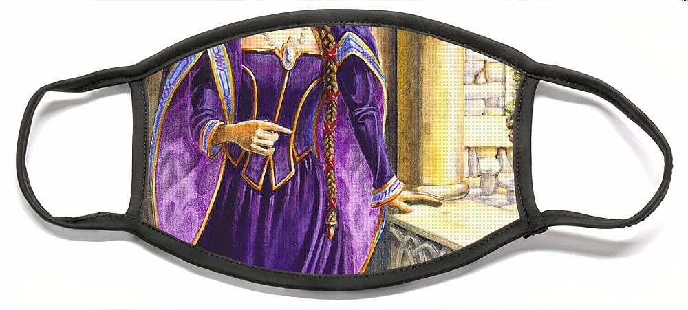 Camelot Face Mask featuring the painting Lady Ettard by Melissa A Benson