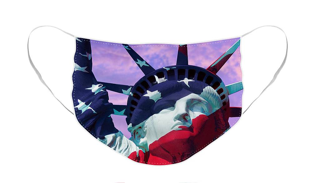 Lady Liberty Patriot Face Mask featuring the photograph Lady Liberty Patriot by Jon Neidert