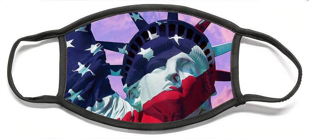 Lady Liberty Patriot Face Mask featuring the photograph Lady Liberty Patriot by Jon Neidert