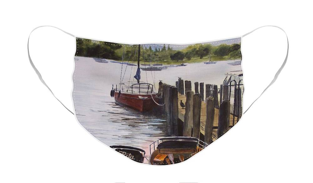 Boats Face Mask featuring the painting Lake Windermere by Victoria Heryet