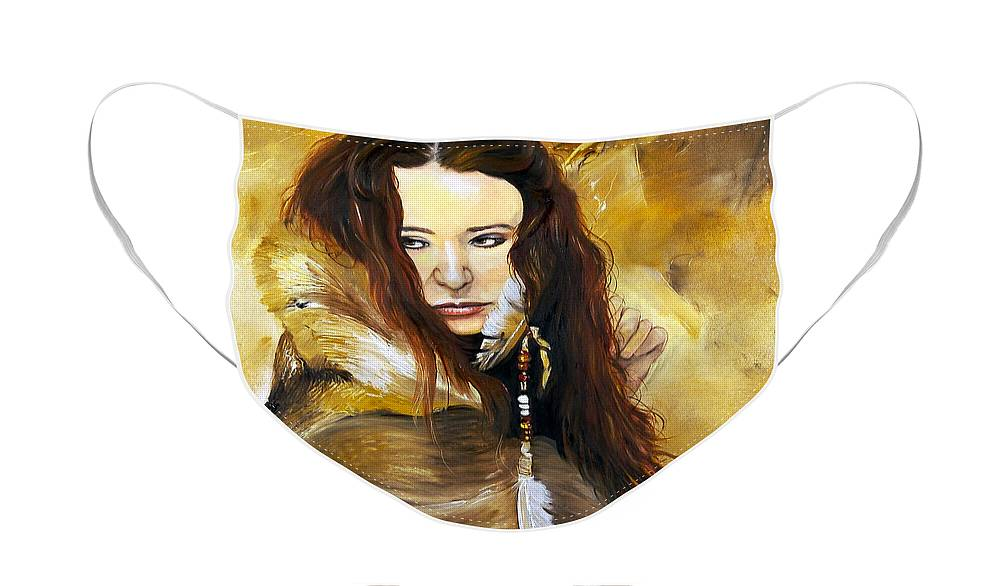 Southwest Art Face Mask featuring the painting Lament by J W Baker