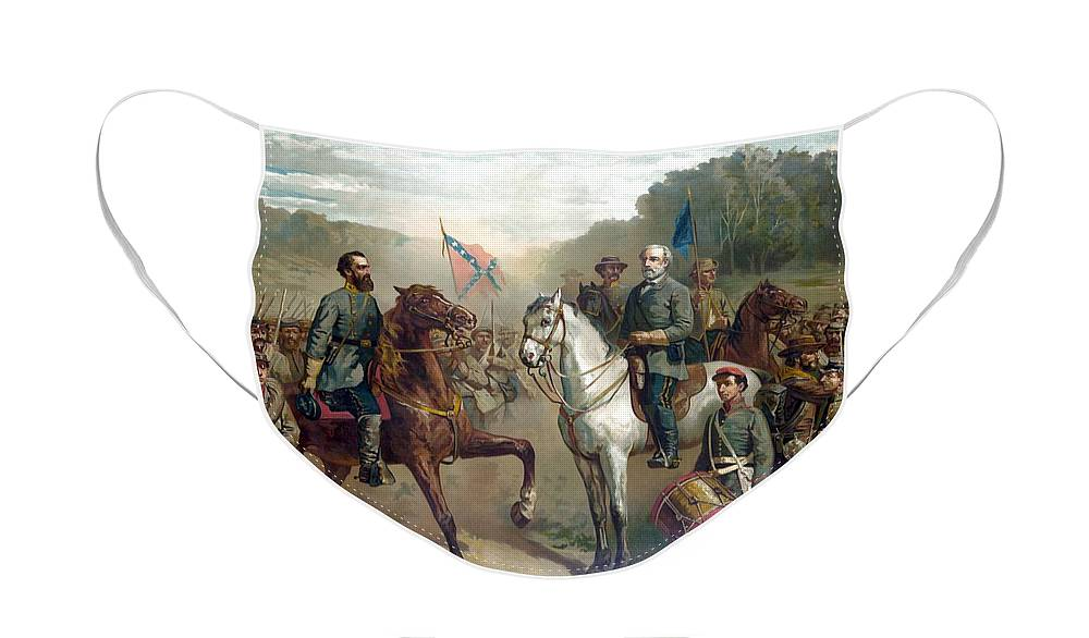 Robert E Lee Face Mask featuring the painting Last Meeting Of Lee And Jackson by War Is Hell Store