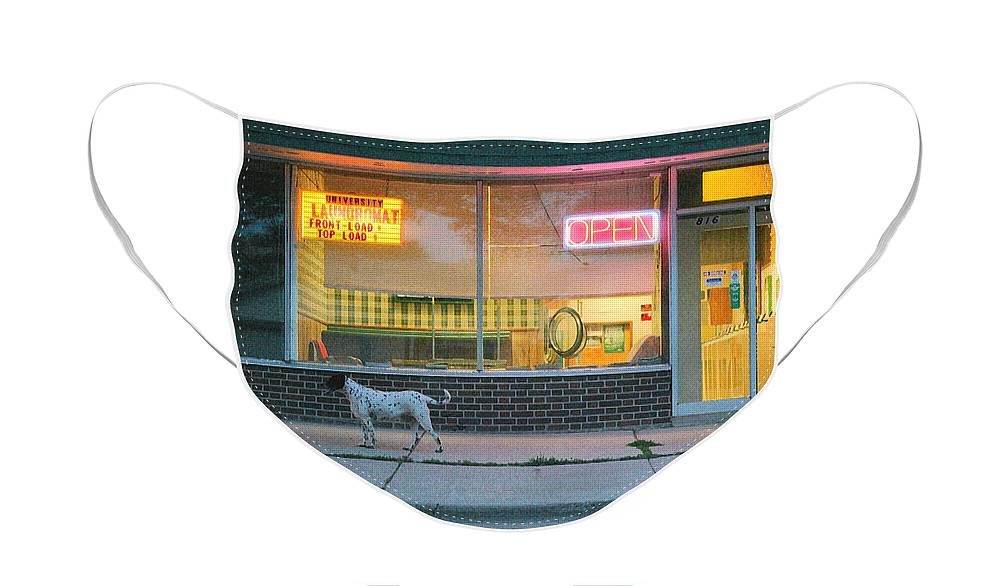 Dog Face Mask featuring the photograph Laundromat Open by Steve Augustin