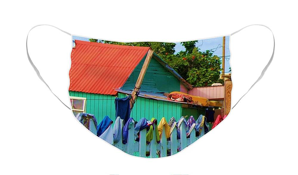Clothes Face Mask featuring the photograph Laundry Day by Debbi Granruth
