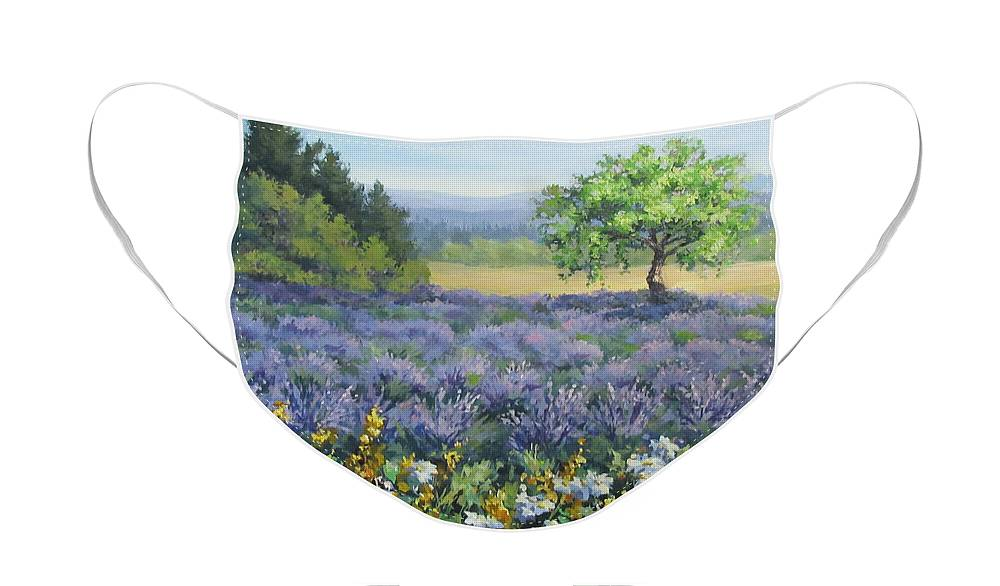 Landscape Painting Face Mask featuring the painting Lavender and Wildflowers by Karen Ilari