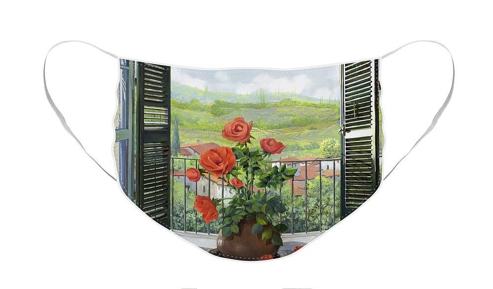 Landscape Face Mask featuring the painting Le Persiane Sulla Valle by Guido Borelli