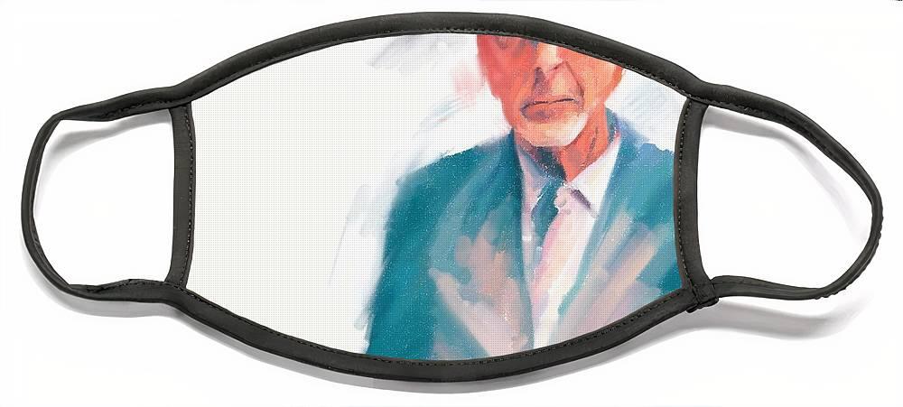 Leonard Cohen Music Portrait Musician Songwriter Face Mask featuring the digital art Leonard by Scott Waters