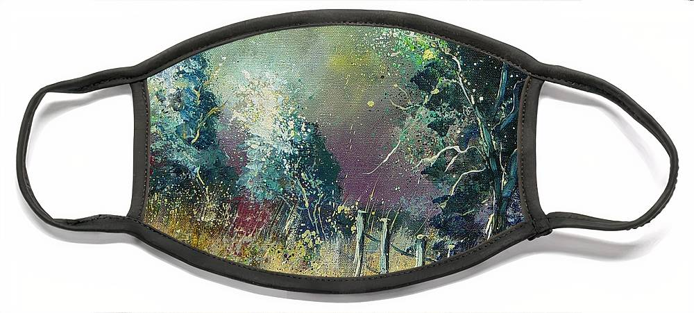 Landscape Face Mask featuring the painting Light on trees by Pol Ledent