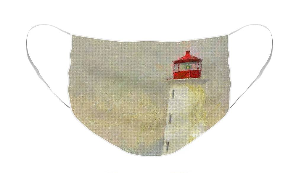 Canadian Face Mask featuring the painting Lighthouse by Jeffrey Kolker