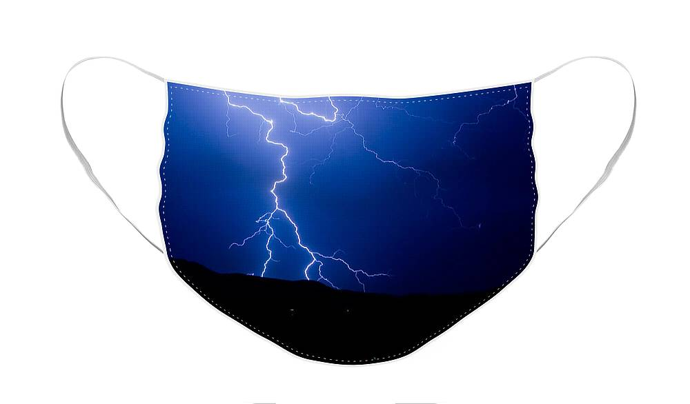 Lightning Face Mask featuring the photograph Lightning Fork in the Hills by James BO Insogna