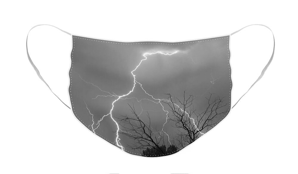 Lightning Face Mask featuring the photograph Lightning Storm on 17th Street BW Fine Art Print by James BO Insogna