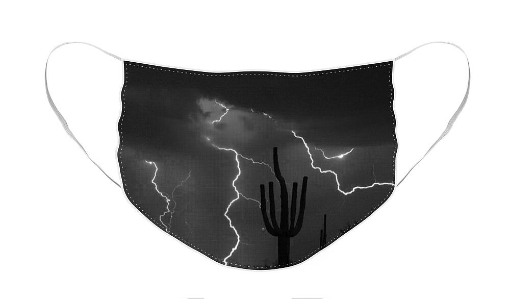 Saguaro Face Mask featuring the photograph Lightning Storm Saguaro Fine Art BW Photography by James BO Insogna