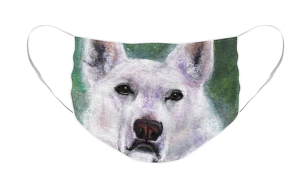 German Shepard Face Mask featuring the painting Lily by Frances Marino