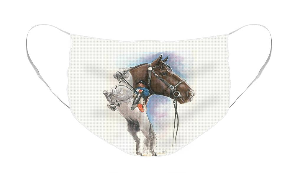 Spanish Riding School Face Mask featuring the mixed media Lippizaner by Barbara Keith