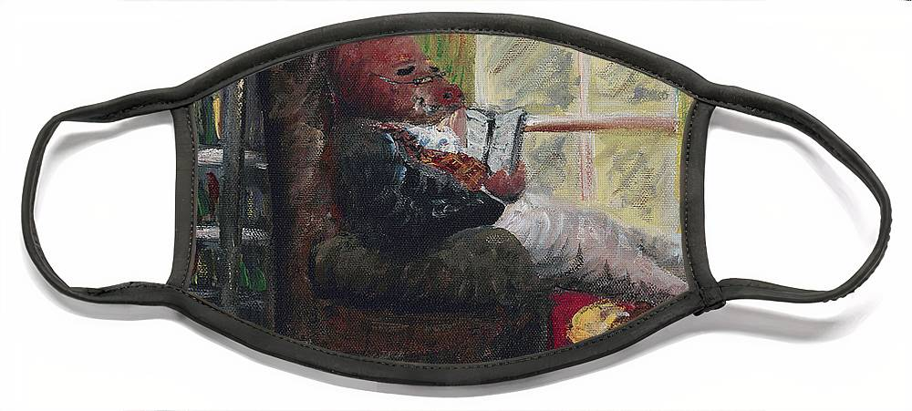 Hog Face Mask featuring the painting Literary Escape by Nadine Rippelmeyer